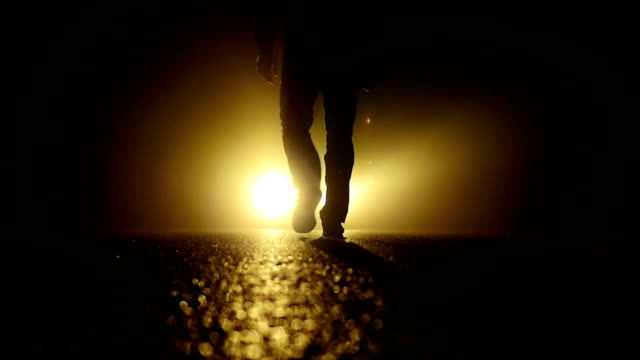 Silhouette of Unknown Man. With Backlight and Scary Shadow. video