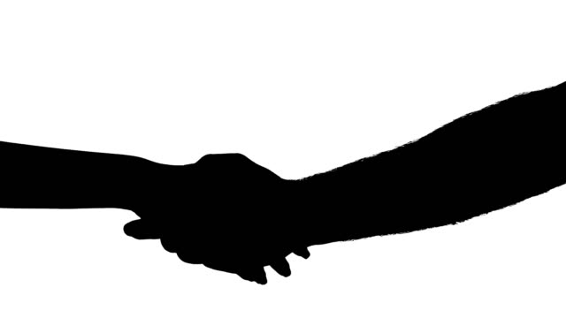 Silhouette of woman and man shaking hands. Equality concept. Isolated, black and white