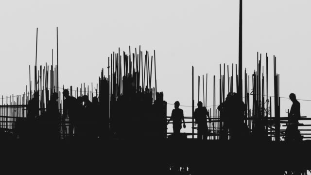 Silhouette of Workers at Construction Site video
