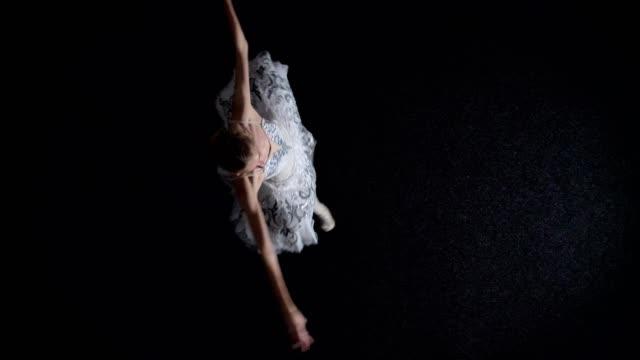 チュチュの若い女性バレリーナのシルエットは移動し spining、バレエの概念、運動の概念、トップ ショット - バレリーナ点の映像素材/bロール