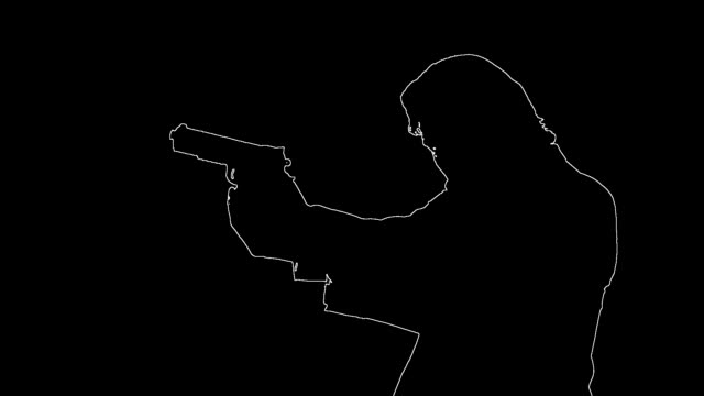 Silhouette outline of man with gun shooting pistol video