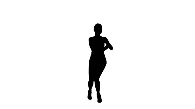 Silhouette Sexy dancing young sporty woman