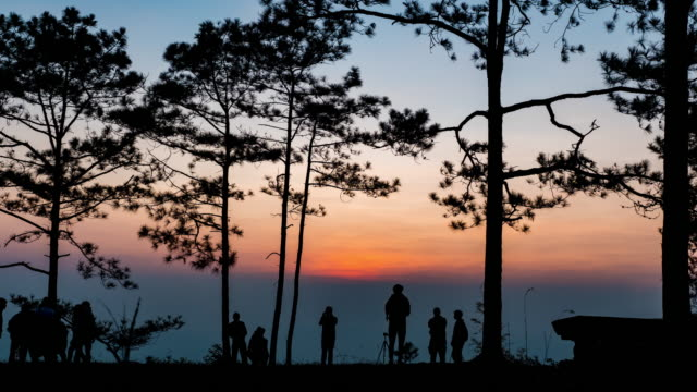 Silhouette Tourists at Senic Viewpoint at Sunrise, Time Lapse video