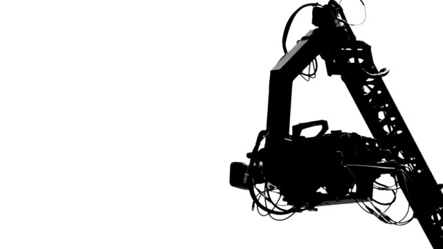 HD - Silhouette. TV camera crane video