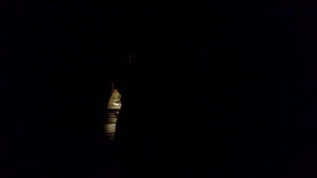 Silhouette Woman Walk Dark Narrow Alley Street, Horror Scene