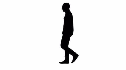 vídeos y material grabado en eventos de stock de silueta casual joven caminando - recortable