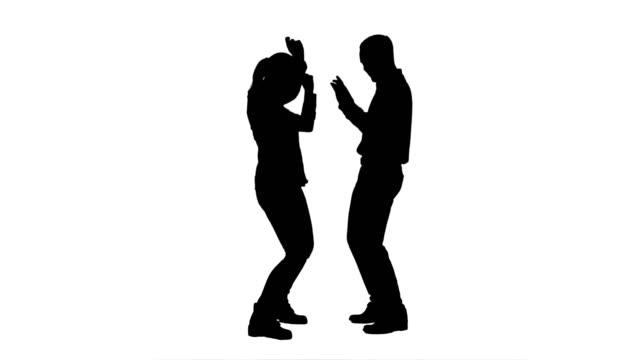 Silhouette Young couple dancing together