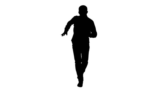 Silhouette Young crazy man dancing and wanking forward