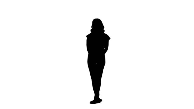 Silhouette Young girl listening something attentively