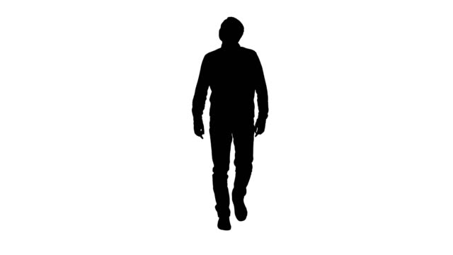 Silhouette Young man walking looking up fascinated Full length portrait. Silhouette Young man walking looking up fascinated. Professional shot in 4K resolution. 004. You can use it e.g. in your commercial video, business, presentation, broadcast full length stock videos & royalty-free footage