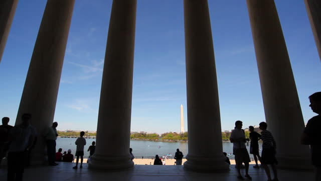 Silhouetted Tourists at Jefferson Memorial video