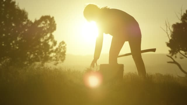 A Silhouetted Woman Gathers Firewood at Sunset A woman in silhouette against a setting sun goes about picking up already-split logs for firewood. firewood stock videos & royalty-free footage