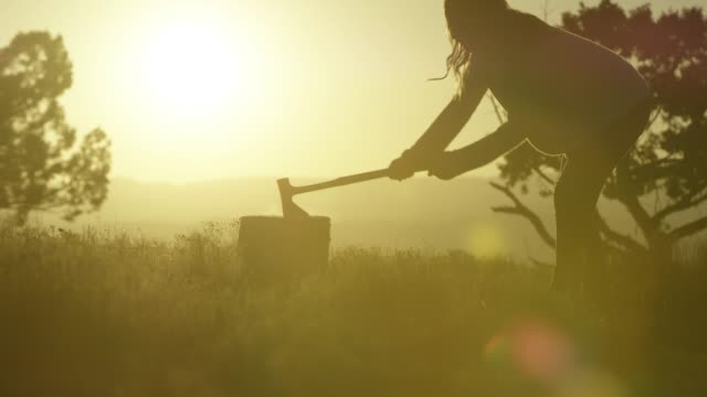 A Silhouetted Woman Wedges Axe into Tree Stump and Gathers Firewood at Sunset A woman in silhouette against a setting sun wedges her axe into a tree stump and then goes about picking up already-split logs for firewood. firewood stock videos & royalty-free footage
