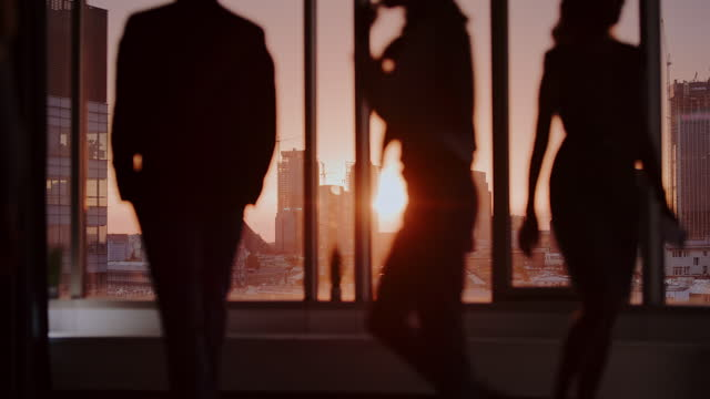 Silhouettes against skyscraper windows with sunset. Business people meeting