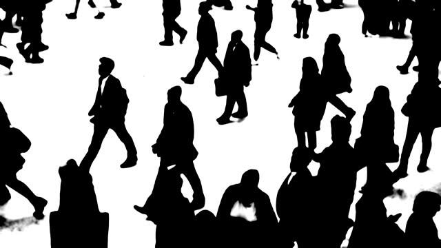 移動中の都市の人々のシルエット - 都市 モノクロ点の映像素材/bロール