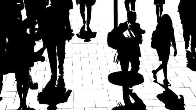 T/L B/W Silhouettes Of City People On The Move video