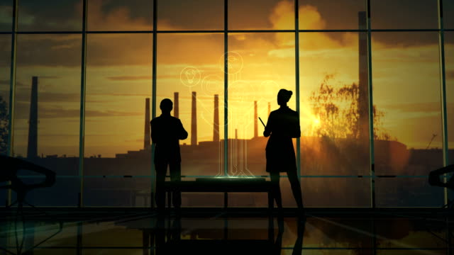 Silhouettes Of Office Employees On Different Floors video