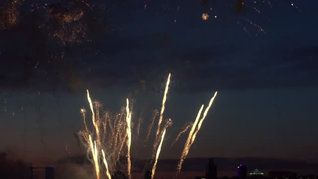 Silhouettes of people during fireworks in the background of a night city. slow motion Silhouettes of people during the festive fireworks in the background of the night city. slow motion family 4th of july stock videos & royalty-free footage