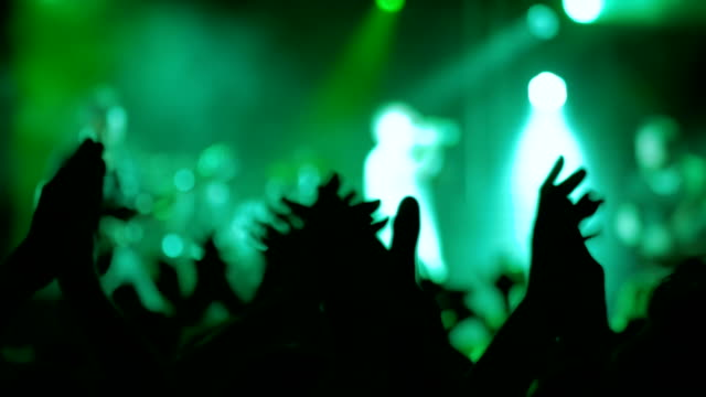 Silhouettes of people partying and clapping at rock concert in front of stage video