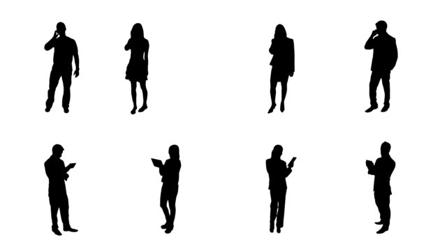 Silhouettes. Technology. 8 in 1. Alpha matte. 8 people silhouettes talking on the phone or using a digital tablet. Full HD. Created exclusively for iStock. silhouette people stock videos & royalty-free footage