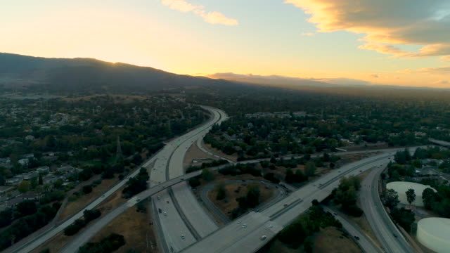 Silicon Valley Aerial views on Silicon Valley at sunset. california stock videos & royalty-free footage