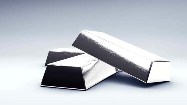 Silver Bars Fall on Ground 3 Silver bars fall in a stack. rotate around. with luma matte for isolation. bar counter stock videos & royalty-free footage