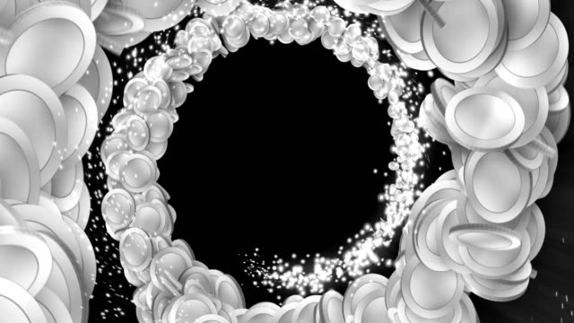 Silver coin particles, CG Animation video