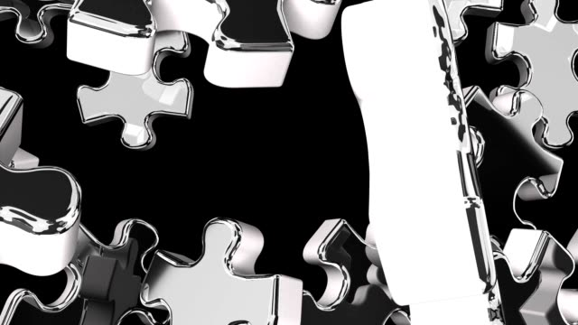 Silver Jigsaw Puzzle On Black Background 3DCG render Animation. jp201806 stock videos & royalty-free footage