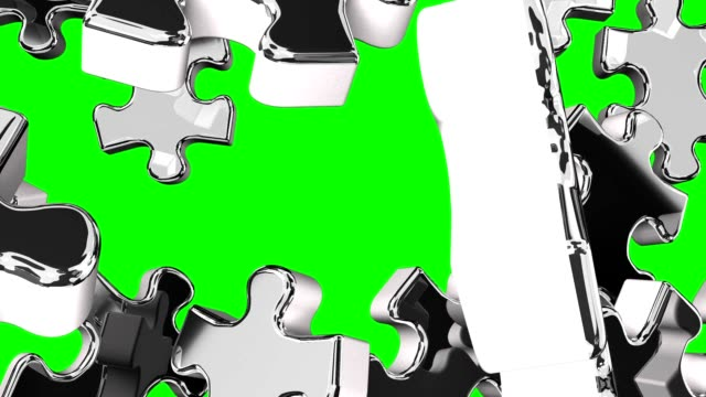 Silver Jigsaw Puzzle On Green Chroma Key 3DCG render Animation. jp201806 stock videos & royalty-free footage