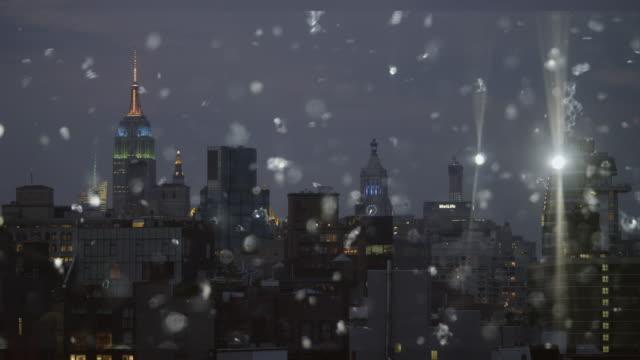 Silver snow glitter cityscape skyline New York City Abstract video