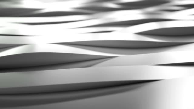 Silver waving stripes. 3d rendering. video