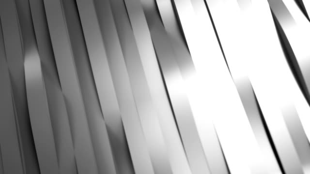 Silver waving stripes. 3d rendering. video