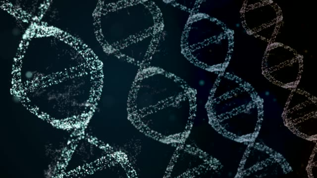 Similar DNA helixes rotating on both sides of dark background.