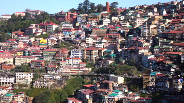 simla stadtansicht, ist es die hauptstadt des indischen bundesstaates himachal pradesh, indien - himachal pradesh stock-videos und b-roll-filmmaterial