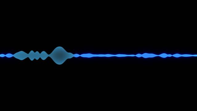 a simple black and blue glowing audio frequency sound wave background - attrezzatura per la musica video stock e b–roll