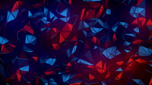 Simple colored low poly loop background animation. Triangular geometric motion pattern. 4K, Ultra HD resolution
