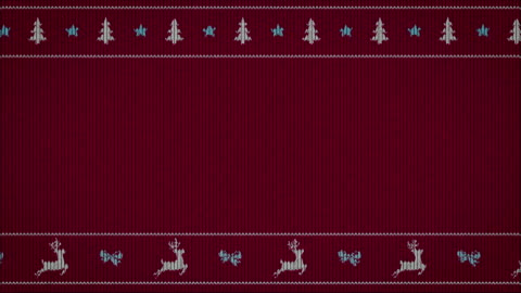 simple funny animation on sweater pattern merry christmas video greeting card, simple funny animation on sweater pattern with moving reindeers, 4K seamless animation christmas stock videos & royalty-free footage