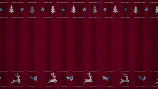 simple funny animation on sweater pattern - natale concept video stock e b–roll