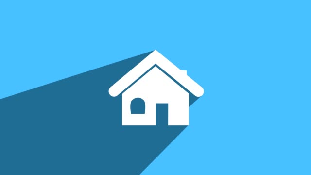 simple house icon with long shadow blue - mortgages and loans stock videos & royalty-free footage