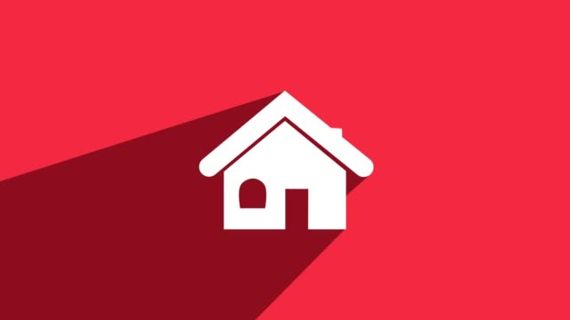 simple house icon with long shadow red - mortgages and loans stock videos & royalty-free footage
