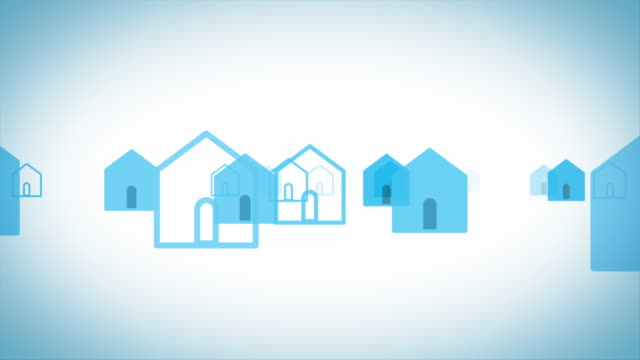 simple house silhouettes[loop] - semplicità video stock e b–roll