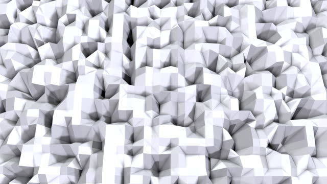 Simple low poly 3D surface as cool backdrop. Soft geometric low poly background of pure white grey polygons. 4K Full hd seamless loop background video