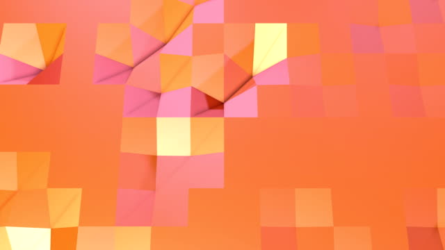 Simple low poly 3D surface as element motion graphic. Soft geometric low poly motion background of shifting pure pink orange red polygons. 4K Fullhd seamless loop background with copy space video