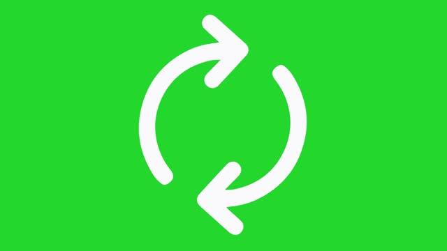 basit geri dönüşüm simgesi animasyonu. yeşil ekran arka planı ile yenile düğmesi - serinletici stok videoları ve detay görüntü çekimi
