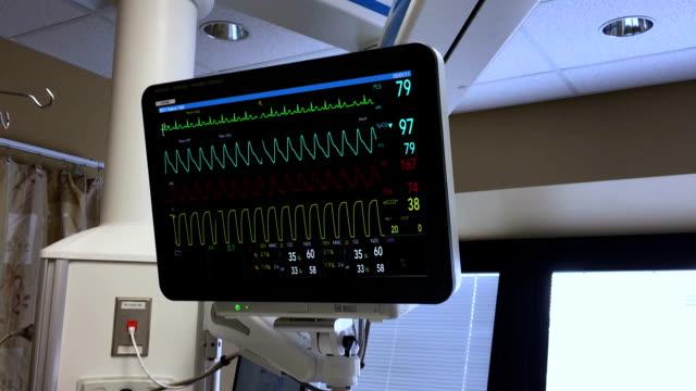 herz-monitor-bildschirm im krankenhaus simuliert - medizinisches untersuchungsgerät stock-videos und b-roll-filmmaterial