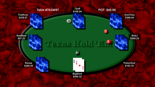 Simulated Online Poker Game (Table Only) video