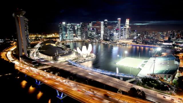 Singapore Aerial Panorama at Night video