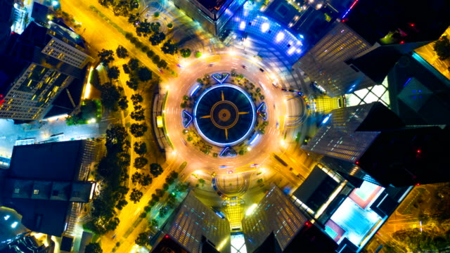 Singapore Aerial Panorama view at Night time-lapse at fountain of wealth roundabout