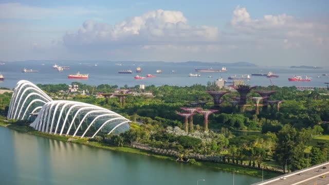 Singapore bay area skyline 4K time lapse of Singapore bay area skyline bay of water stock videos & royalty-free footage