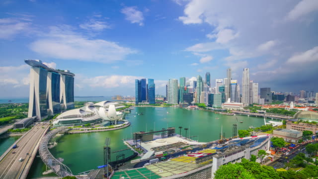 singapore bay area skyline - singapore architecture stock videos & royalty-free footage